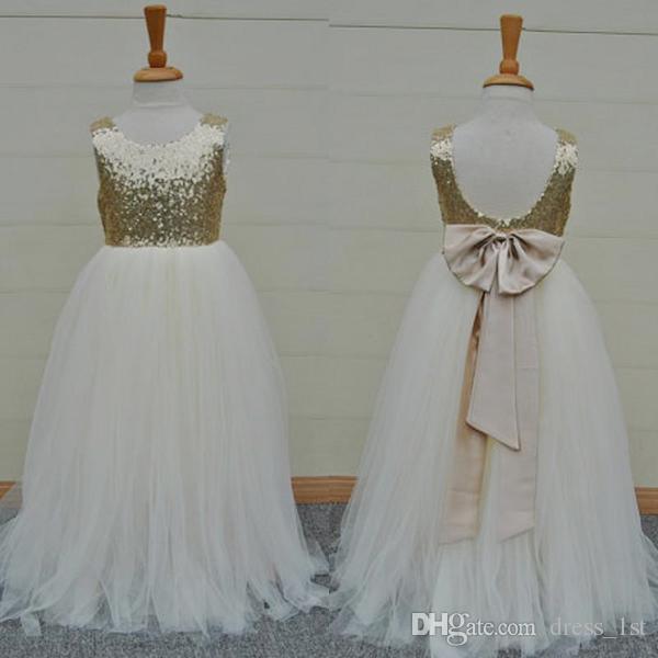 ba46c12bd54 Sparkly 2016 Hot Sale Gold Sequin Ivory Tulle Floor Length Flower Girls  Dresses For Weddings Cheap Backless Bow Formal Party Gowns EN8164 Flower  Girl ...