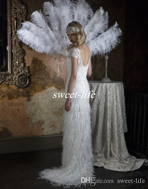 Two Piece Feather Wedding Dresses with Greek Goddess Style Detachable Skirt Burlesque Gatsby 2016 Vintage Bridal Gowns For UK Brides 2 in 1