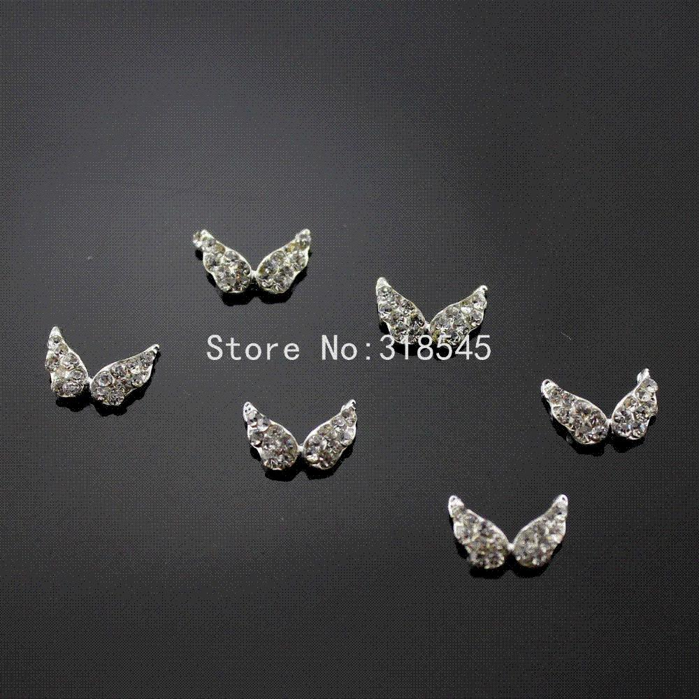 Ilver Angel Wing Christmas Nail Art Clear Glitter Decoration Alloy ...