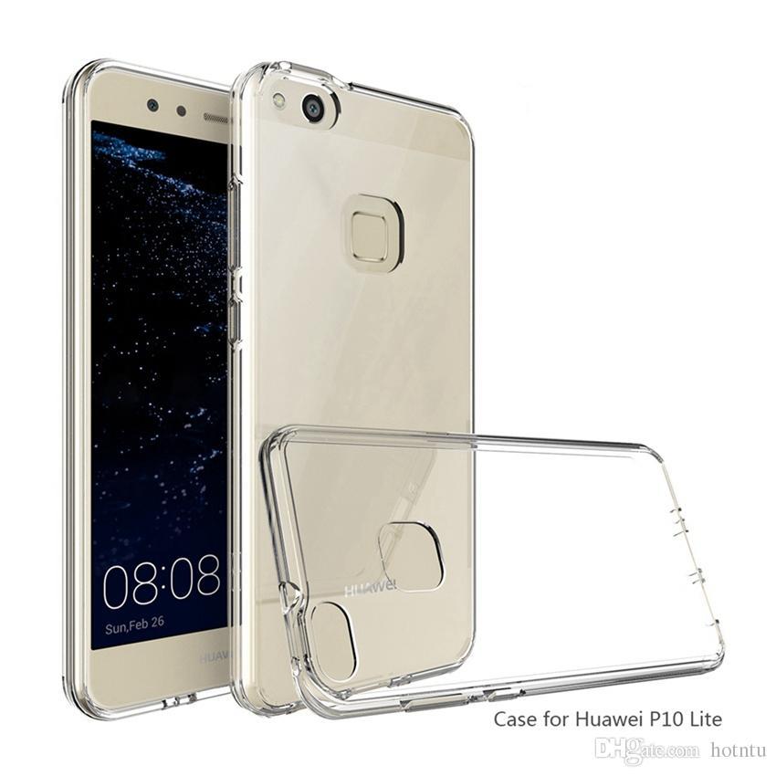 Para Huawei P9 Lite Funda Air Cushion Tech Soft TPU Bumper Clara carcasa trasera Carcasas híbridas para Huawei P10 Lite Plus