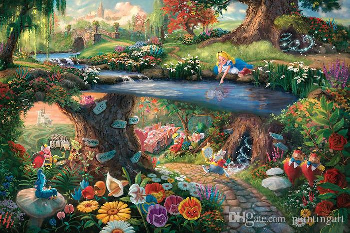 2019 Alice In Wonderland Giclee Art Print On Canvas No Frame From