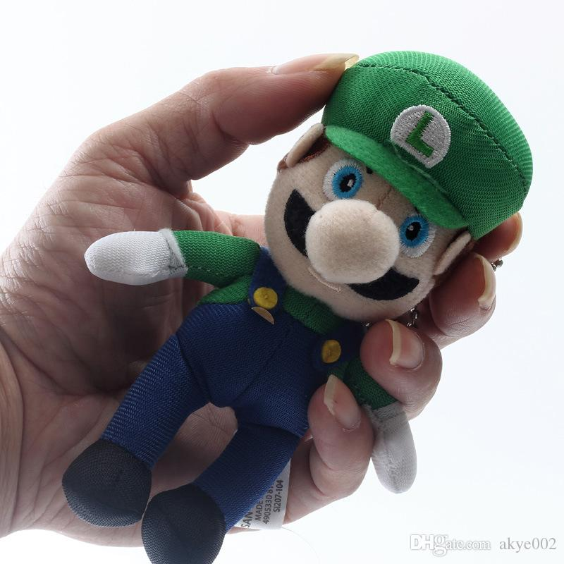 2 Stil 9 cm MARIO Ve LUIGI Süper Mario Bros Peluş Bebek Anahtarlık Kolye Bebek İyi Hediyeler Için Doldurulmuş Oyuncaklar