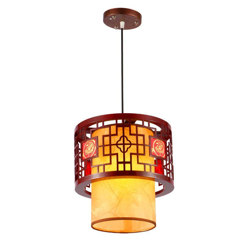 Discount Chinese Style Wooden Teahouse Pendant Lamp Vintage