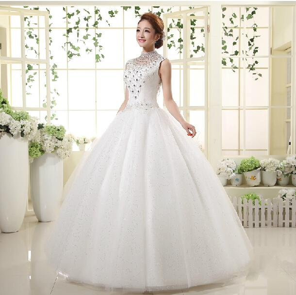 Alta Neck Cristal Vestido de Noiva Do Vintage Com As Costas Abertas 2016 Até O Chão Vestidos de Casamento Transporte Rápido