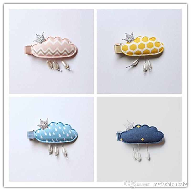 Cloud New Princess Baby Girls Hair Clips with Mini Glitter Felt Crown Navy Blue Hair Grip Stripe Pink Hairpins