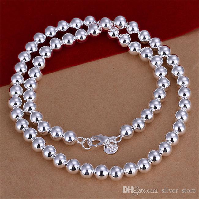 Best gift '8MM beads necklace Hollow Men sterling silver necklace STSN111B,wholesale fashion 925 silver Chains necklace factory direct sale