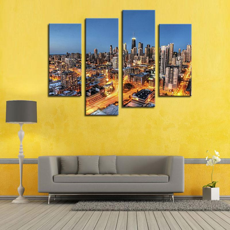 4 Panel Canvas Art Wall Art Painting Skyscrapers With Gloden Light ...