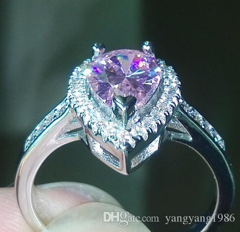 misura 5-10 taglio a goccia Fidanzamento di lusso Gioielli zaffiro rosa in argento sterling 925 Anello diamantato con diamanti incastonati