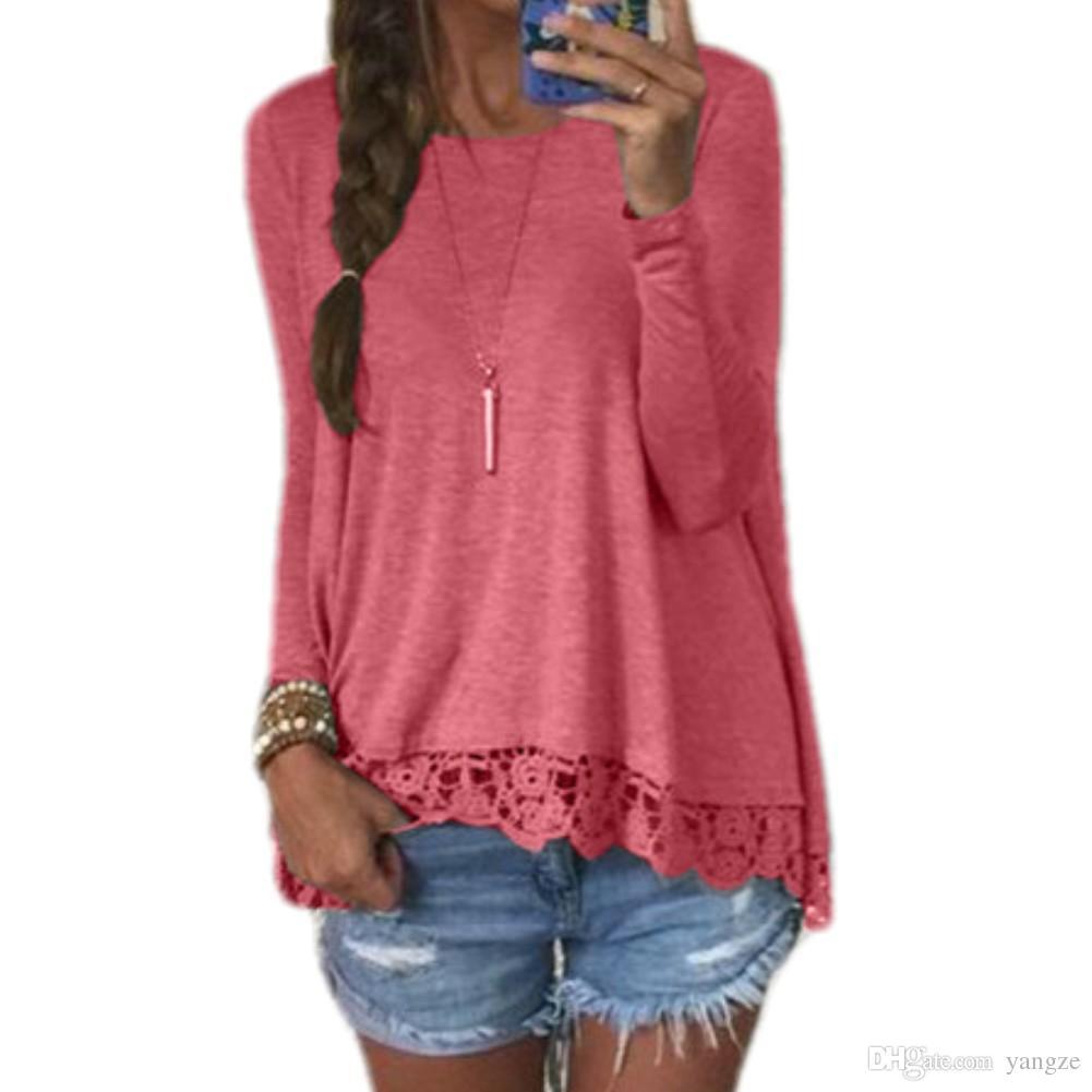 Mulheres casuais Tops Camisa Blusas Com Rendas Hem O-pescoço de Manga Comprida Blusa Solta Mulheres Roupas Primavera Outono Inverno S-XL WY7042