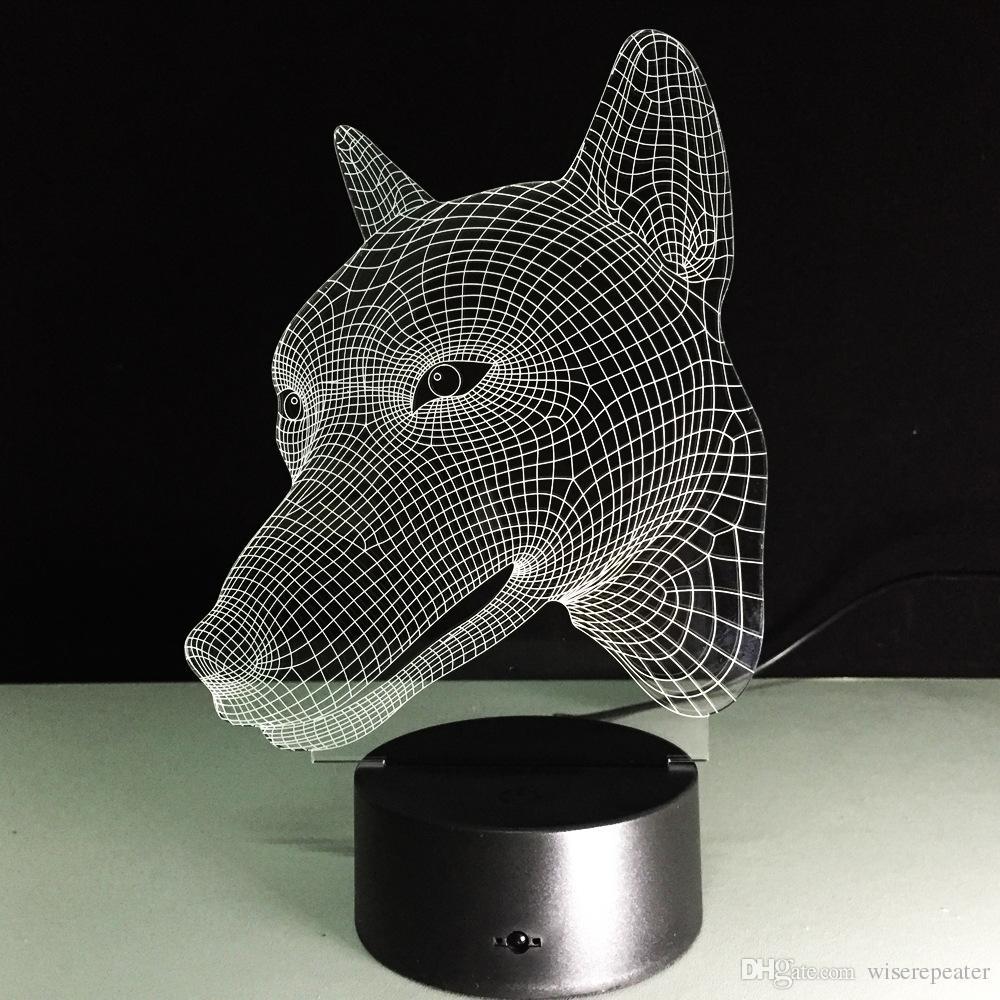 2018 Dog Head 3D Optical Illusion Lamp Night Light DC 5V USB Charging AA Battery Wholesale Dropshipping