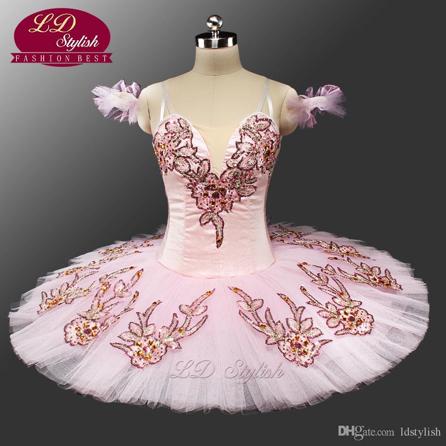 Новый розовый классическая балетная пачка для взрослых LD0047 блинчика пачка балет профессиональный балет пачки, розовый Спящая красавица Туту костюмы