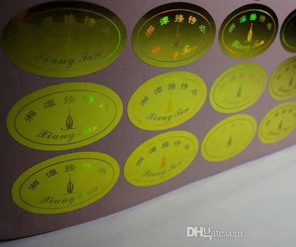 10000 pièces / ensemble! autocollant auto-adhésif sur mesure logo hologramme design étiquettes Conception libre! vide si enlevé