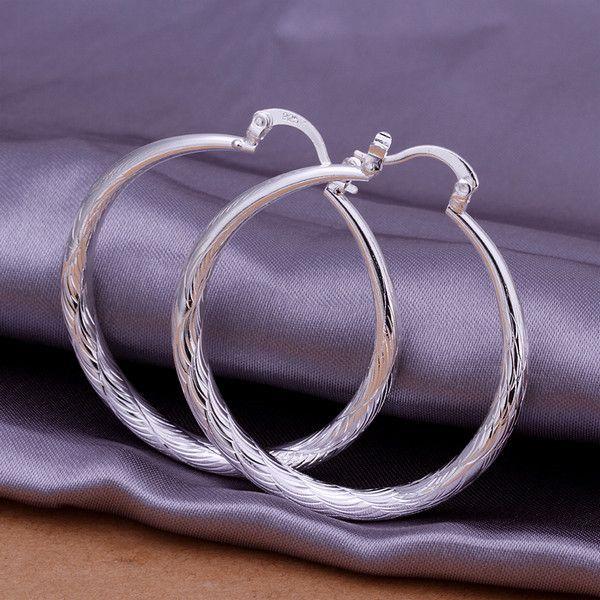 Sıcak satış Yuvarlak büyük balık desen gümüş plaka küpe fit kadınlar, düğün kaplama 925 gümüş takılar küpe EE292