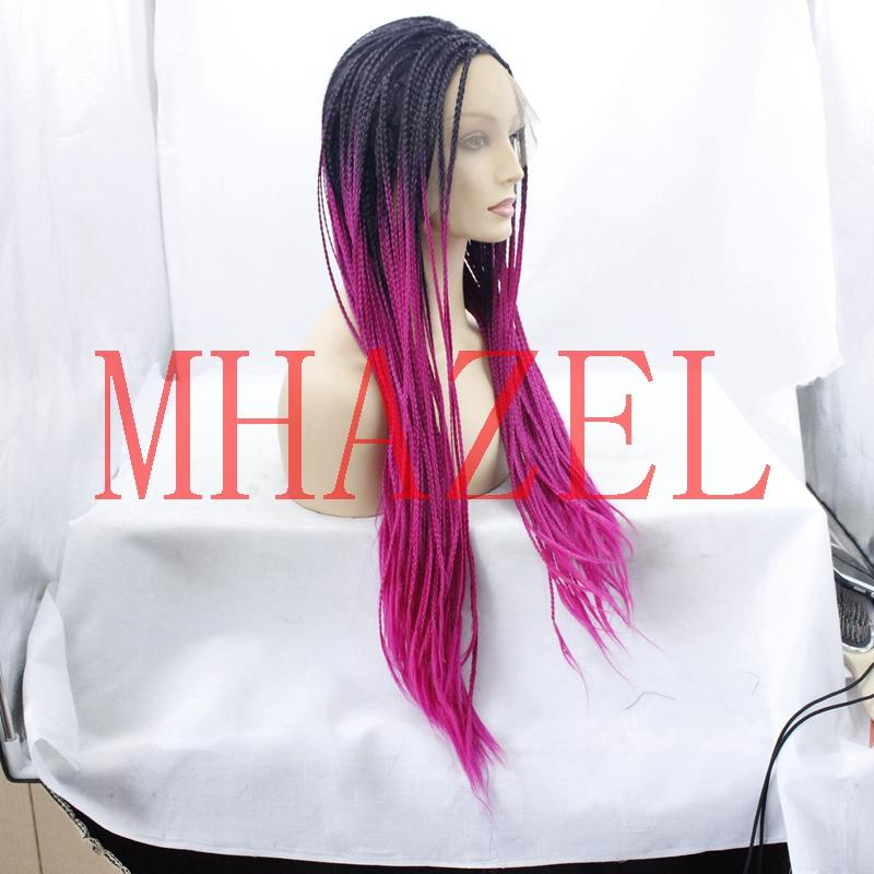 box braided ombre 1b#/rose pink hair synthetic glueless wig for fashion lady two tone braided