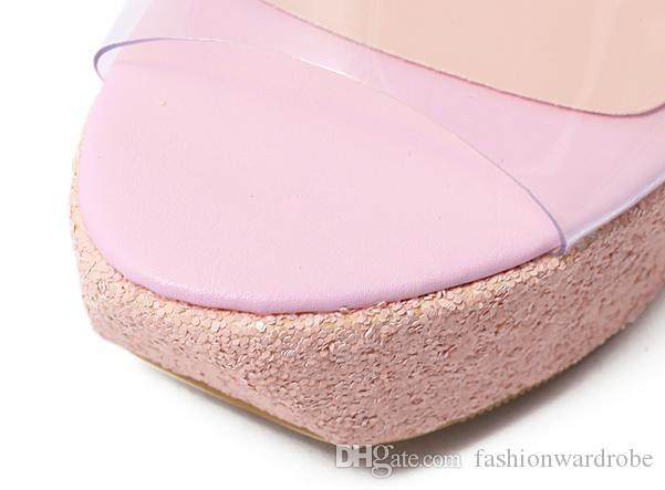 Designer Coréenne Nouvelle Arrivée Été PVC À Bout Ouvert Flip Flop Glitter Strass Talon Haut Wedge Jelly Sandales Femmes Slip Sur Chaussures