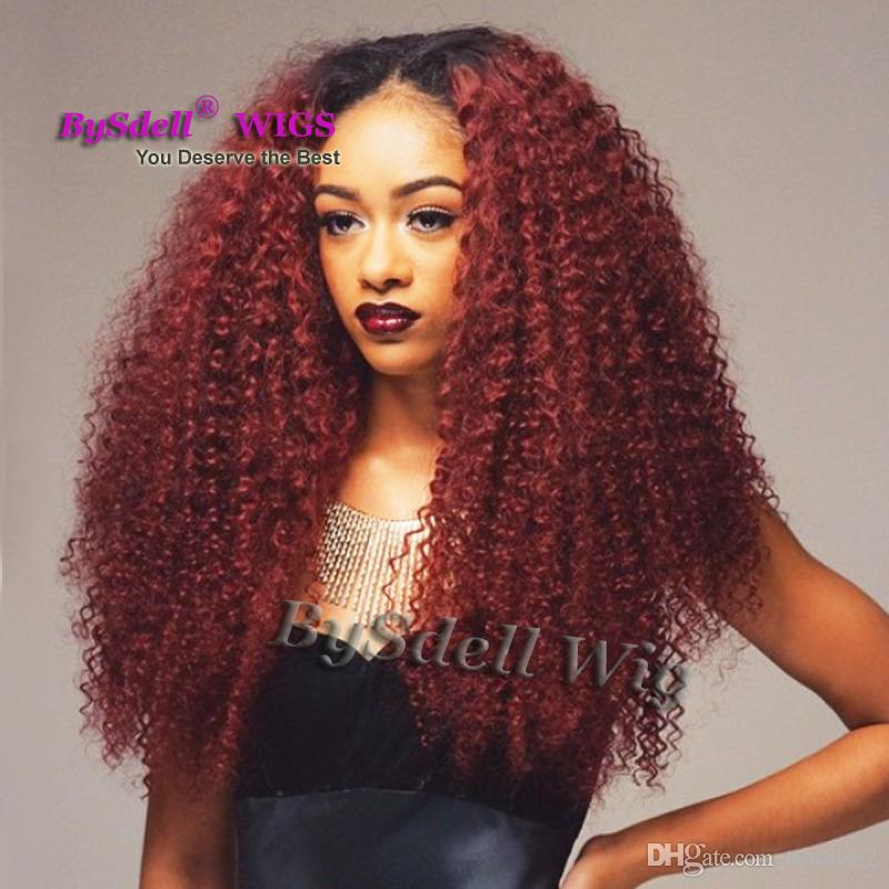 New Arrival Afro Curly Hair Front Lace Wig Black Ombre Burgundy Kinky Curly Hairstyle  Wig Synthetic Lace Front Wigs For Black Women Whole Lace Synthetic ... 16690eb84a