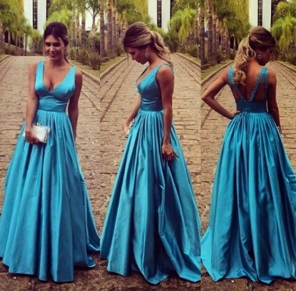 V boyun saten balo elbise Uzun Bir çizgi seksi backless akşam elbise uzun örgün akşam elbise