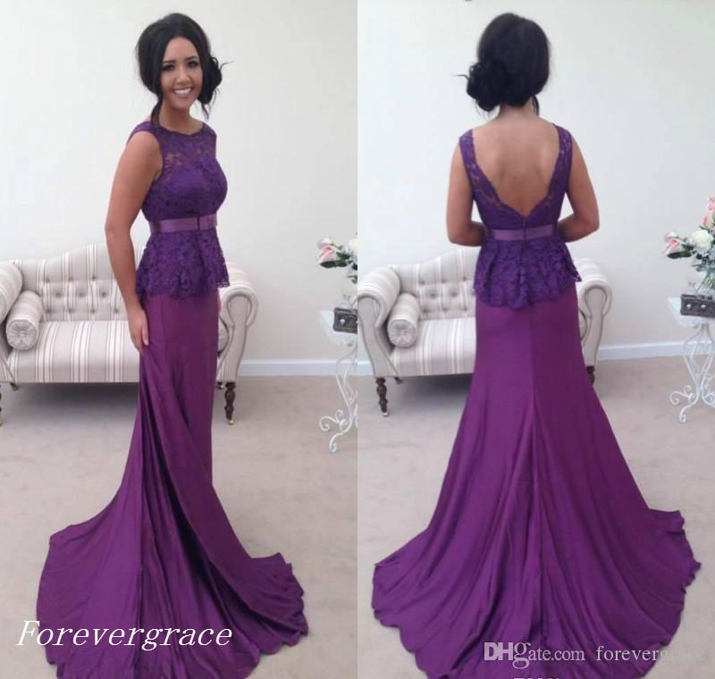 be9bd986545 2017 Elegant Purple Long Prom Dress With Peplum Lace Formal Holidays Wear  Graduation Evening Party Pageant Gown Custom Made Plus Size In Stock Prom  Dresses ...