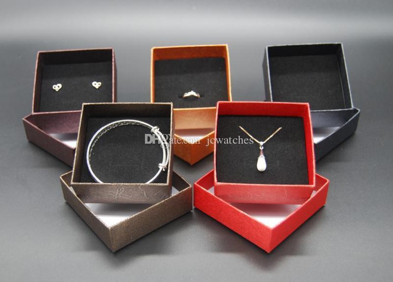 Großhandelsschmucksache-Kasten-Kasten-Halsketten-Ring-Ohrring-Weihnachtsgeschenk-Kasten-Verpackungsanzeige für Schmuck örtlich festgelegte Mischfarbe Freies Verschiffen