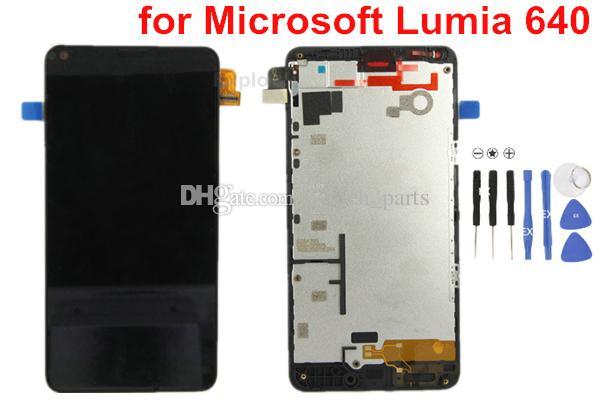 اختبار لوط مرت لمايكروسوفت نوكيا Lumia 640 N640 شاشة LCD + شاشة تعمل باللمس محول الأرقام الجمعية الإطار زجاج عدسة 100٪ الأصلي جديد