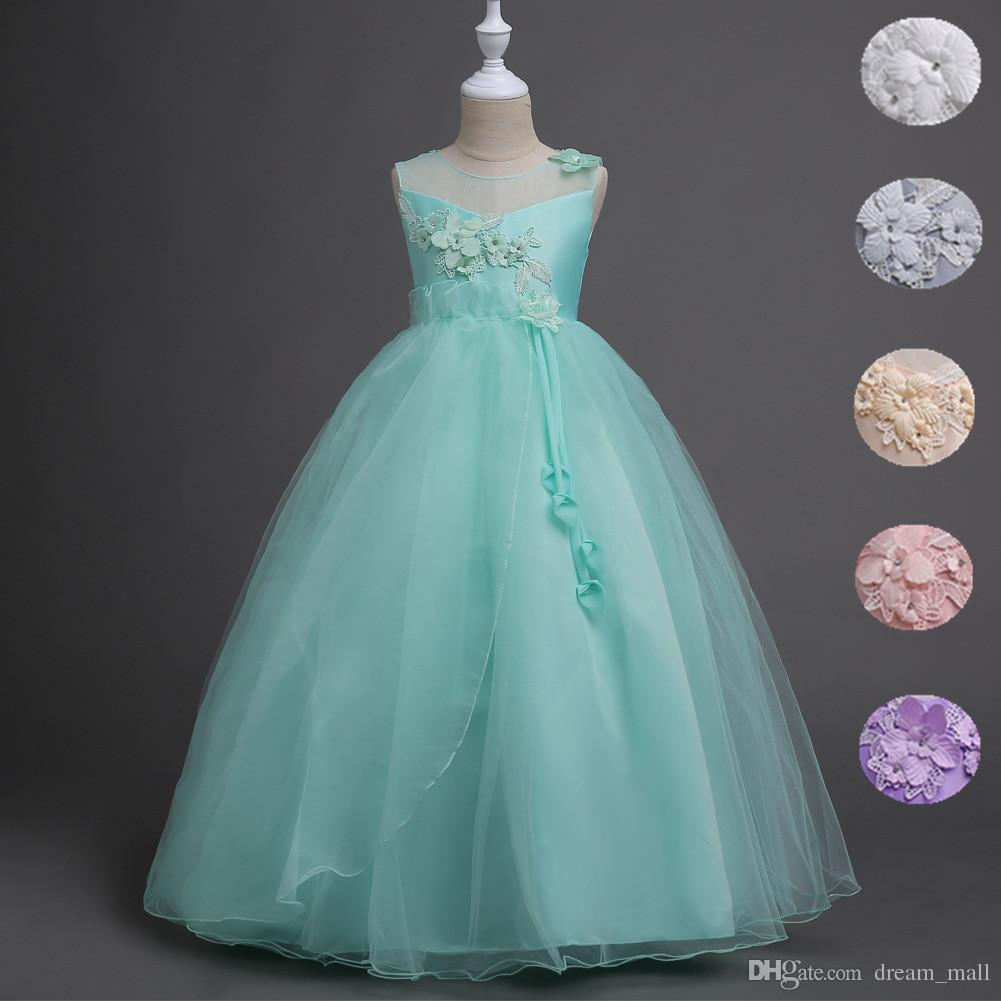 Kids Teen Girls Wedding Flower Girl Dress Princess Floral Party ...