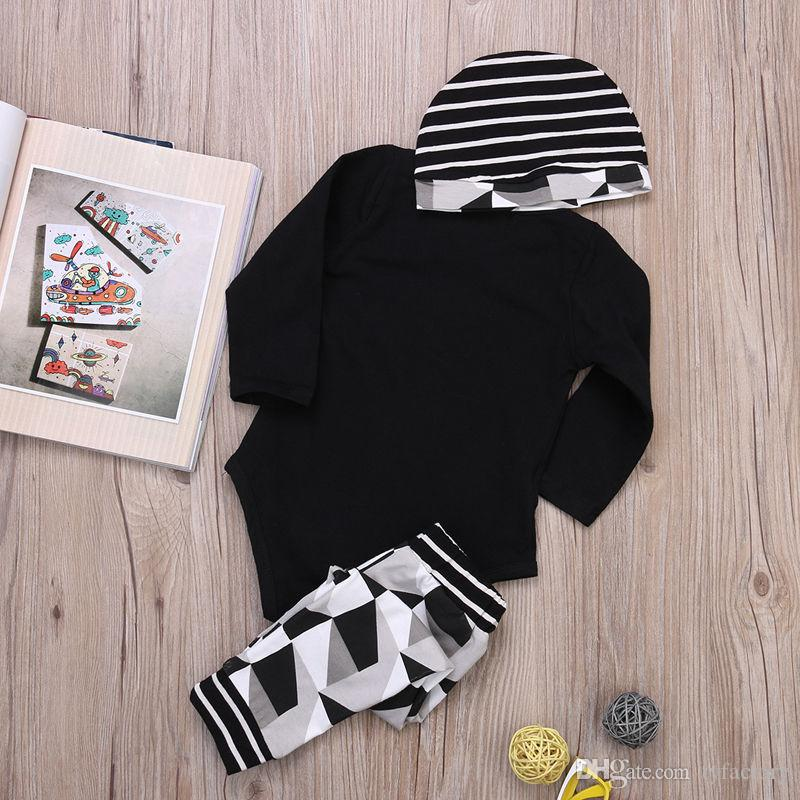 fashion Baby Boy Girl sets Kids Newborn Infant new guy so fly funny letter printed Romper+pants+Hat bodysuit Outfits top Clothing Set