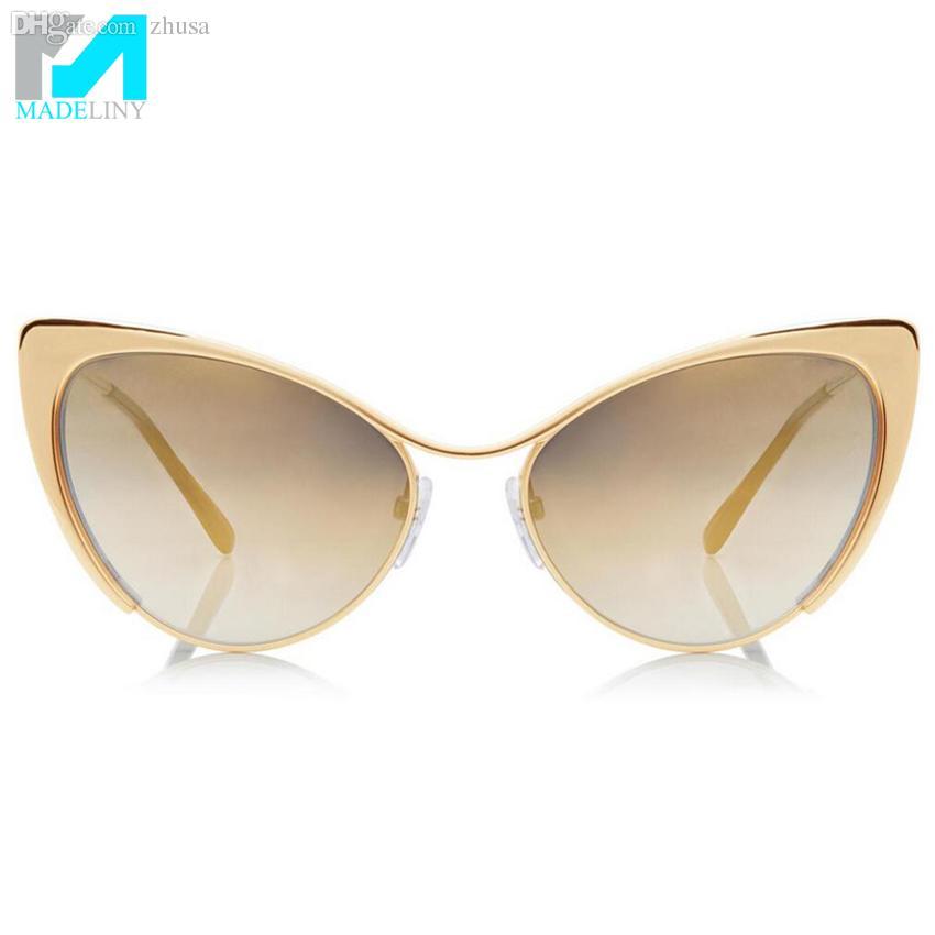 2d3bd5e262 Wholesale-Nastasya Metal Cat-Eye Sunglasses Women Brand Designer Cat ...