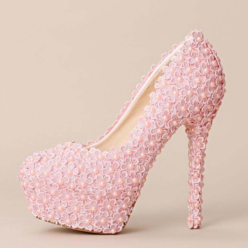 e18f23b7b4 New Sweet Pink Lace Flower Wedding Shoes Handmade Festive Ultra High Heel Bridal  Shoes Women Fashion Pumps Formal Dress Shoes Nude Bridal Shoes Outdoor ...