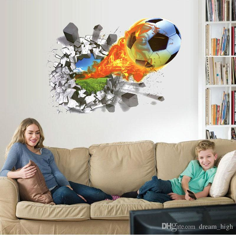 50*70cm Football Soccer ball Through from the football field wall stickers TV Background bedroom wall decals boys room decor gift