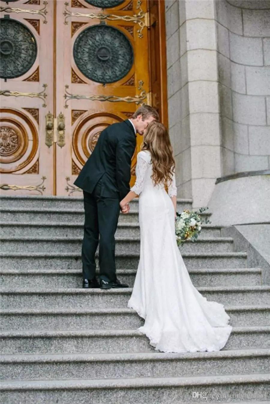 2018 New Vintage Modest Brautkleider Mit Langen Ärmeln Böhmischen Spitze Chiffon Brautkleider Land Hochzeitskleid