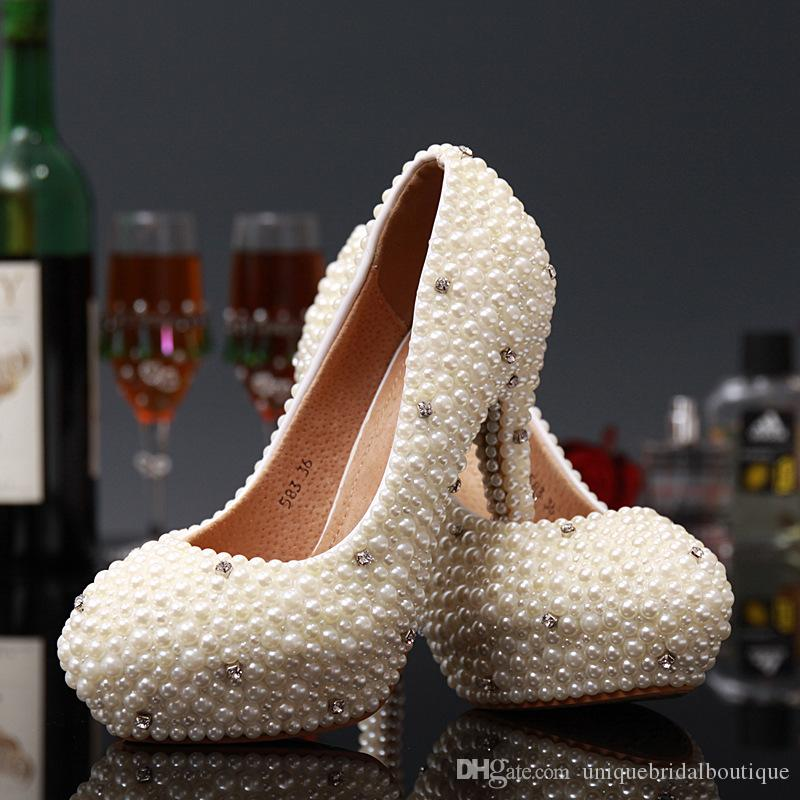 2016 Pearls Wedding Shoes in High Heels 14cm 12cm 10cm 8cm 6cm 3cm Crystals Bridal Party Shoes Fast Shipping Prom Shoes