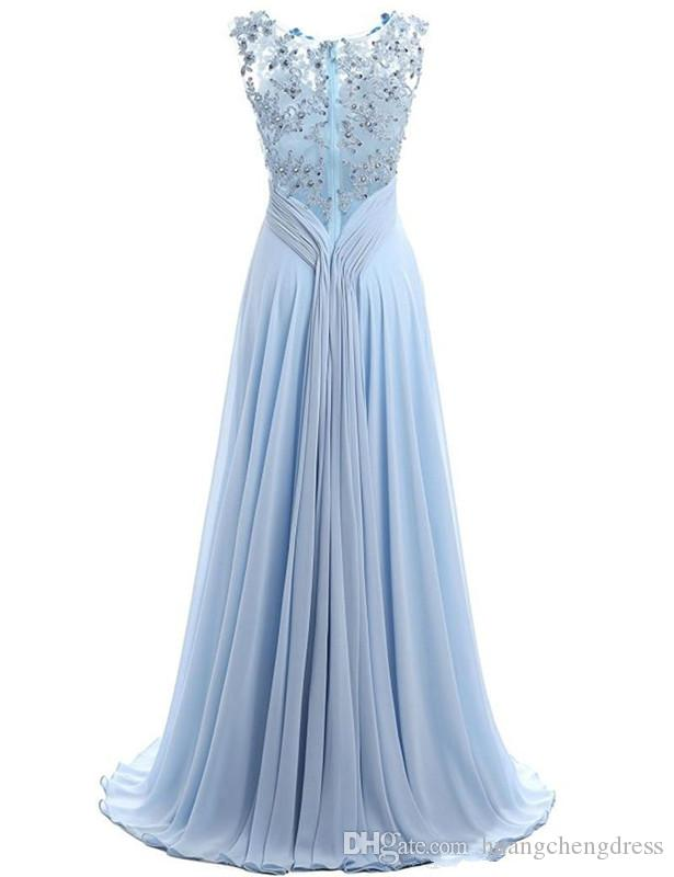 Blue Prom Dress Cap Sleeve 2019 Robe Ceremonie Femme Long Elegant Evening Dresses Floor Length Party Gowns