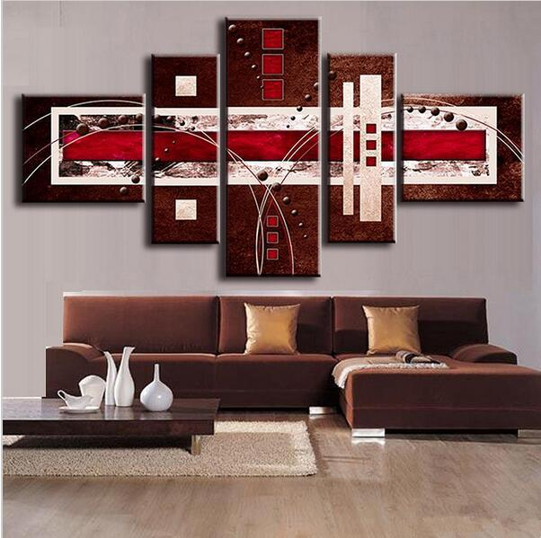 2018 Combined Modern Abstract Oil Painting Brown Red Cream