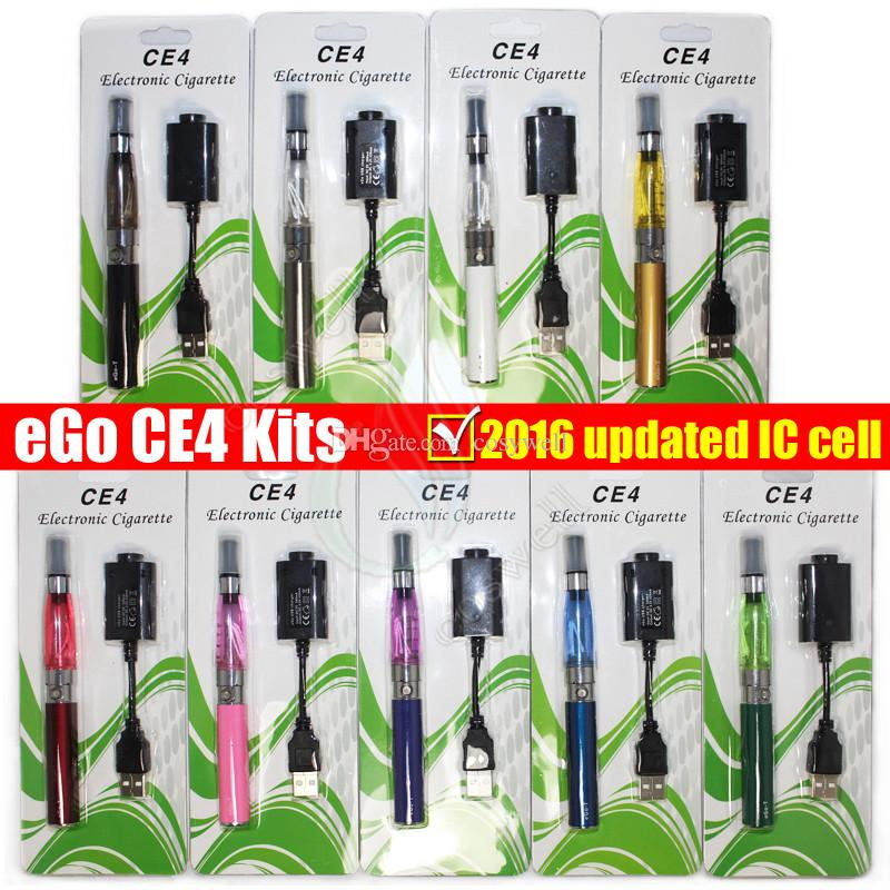 eGo electronic cigarette starter kit Blister Updated IC cell with CE4 atomizer 650 900 1100mAh ego t battery vaporizers ecigs vapor kits DHL