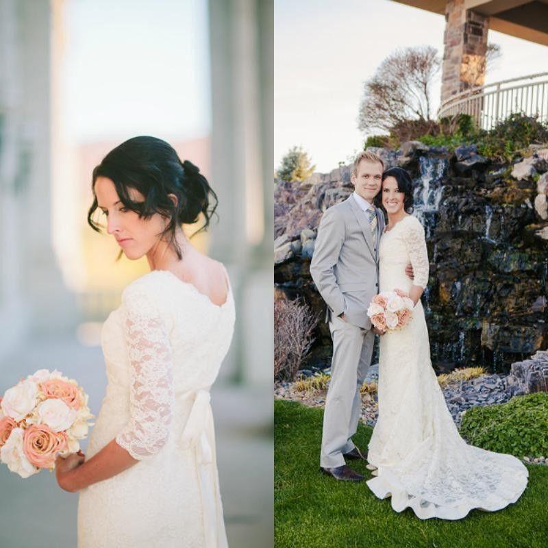 60ies Wedding Dress.Elegant Scoop Bow Lace Mermaid Modest Wedding Dresses With Half Sleeves Sweep Train Illusion Sheer Garden Custom Bridal Gowns