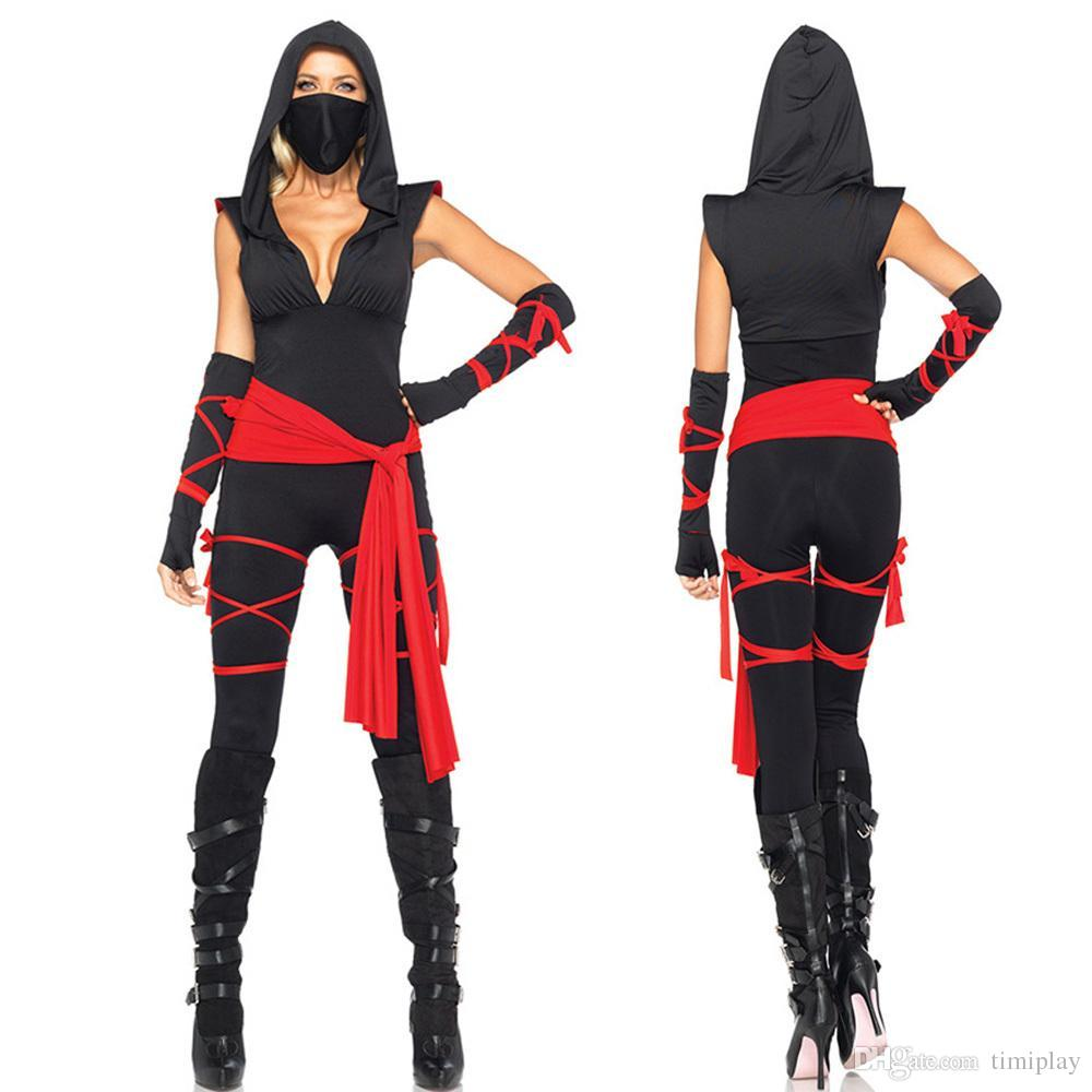 high quality black ninja jumpsuits costume for women halloween sexy adult assassins creed role playing costumes warrior costume mens costume cat halloween