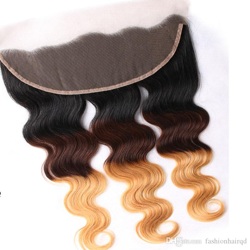 Ombre Lace Frontal Closure Bundles T1b/4/27 Three Tone Brazilian Body Wave Virgin Human Hair Weaves With Ear To Ear Lace Closure