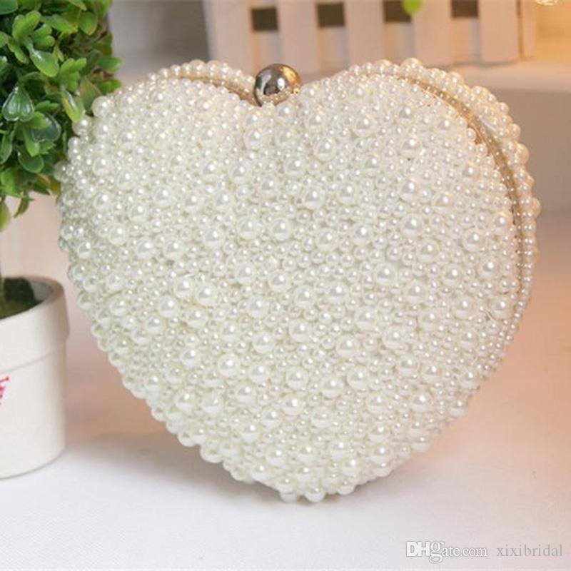 Women Heart Shape Pearl Beaded Evening Bag Day Clutches Bridal Clutch Purse  Wedding Chain Shoulder Bag Cell Phone Pouch Personalized Wedding Favor Bags  ...