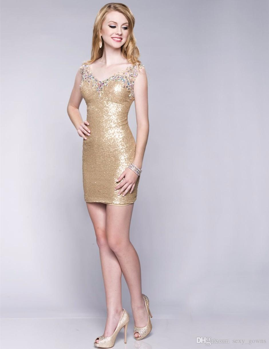 2016 gold sequins tight fitted short homecoming dresses v neck 2016 gold sequins tight fitted short homecoming dresses v neck crystal above knee mini cocktail ombrellifo Gallery