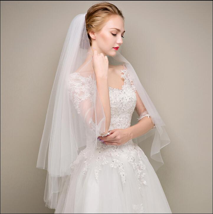 Two Layers White Soft Tulle Wedding Bridal Veils Ankle Length Cheap 2018 Cheap Bridal's Veils Wedding Accessories