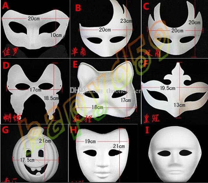 New DIY Mask Hand Painted Halloween White face Mask Zorro Crown Butterfly blank paper mask masquerade cosplay