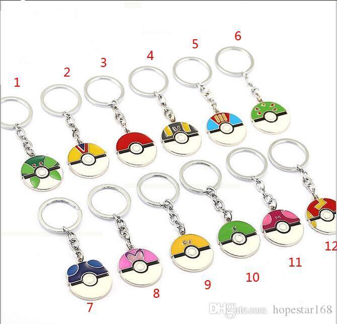 12 Styles Cartoon Pocket Pikachu Pokeball Poke mon Action Figures Poke Ball Anime Keychain Keyring Pendant Halloween christmas gifts
