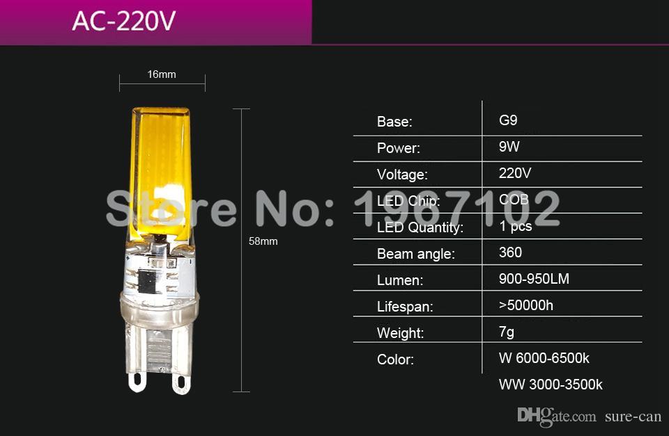 cheap LED G9 Lamp Bulb 220V 6W COB SMD LED Lighting Lights replace Halogen Spotlight Chandelier