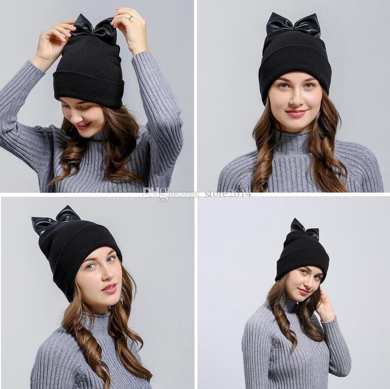 a0a954b0ea3 2018 New Fashion Bowknot Knitted Hat Autumn Winter Warm Beanie Skull Caps  Women Christmas Gift High Quality Custom Beanies Crochet Beanie Pattern  From ...