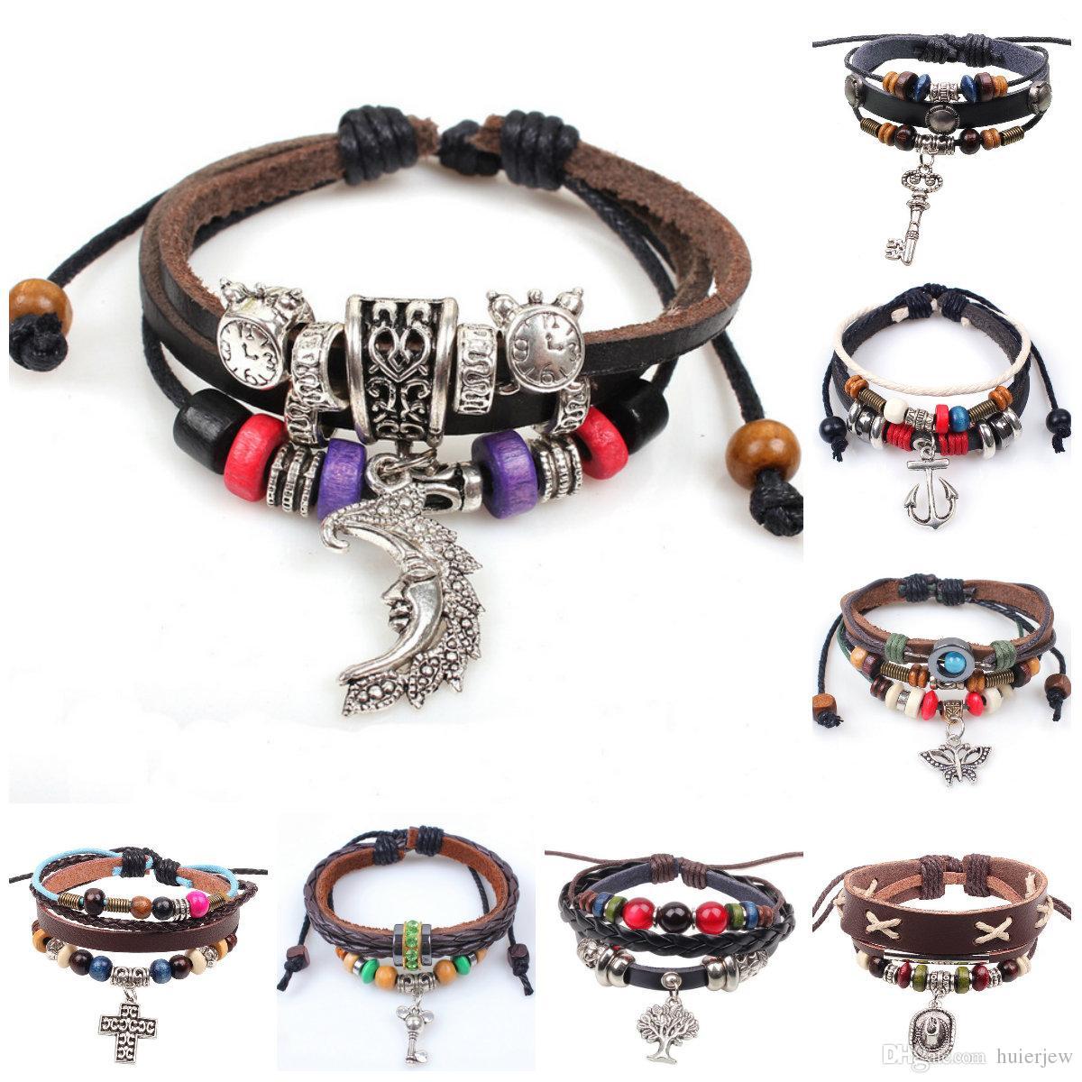 7757c3c66d44b Leather Bracelet For Women Mens Charms Bracelets Bangles Hand Woven Braided  Rope Genuine Leather Chain Bead Bracelet Infinity Bracelets