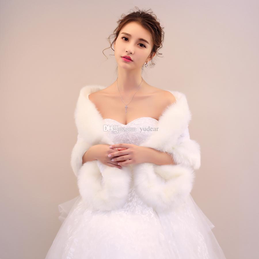2019 المرأة الشتاء الزفاف معطف كبير طويل فو الفراء العاج الدافئة الأغطية أنيقة نصف الأكمام الزهور الزينة رخيصة الدافئة المرأة جاكيتات يلف