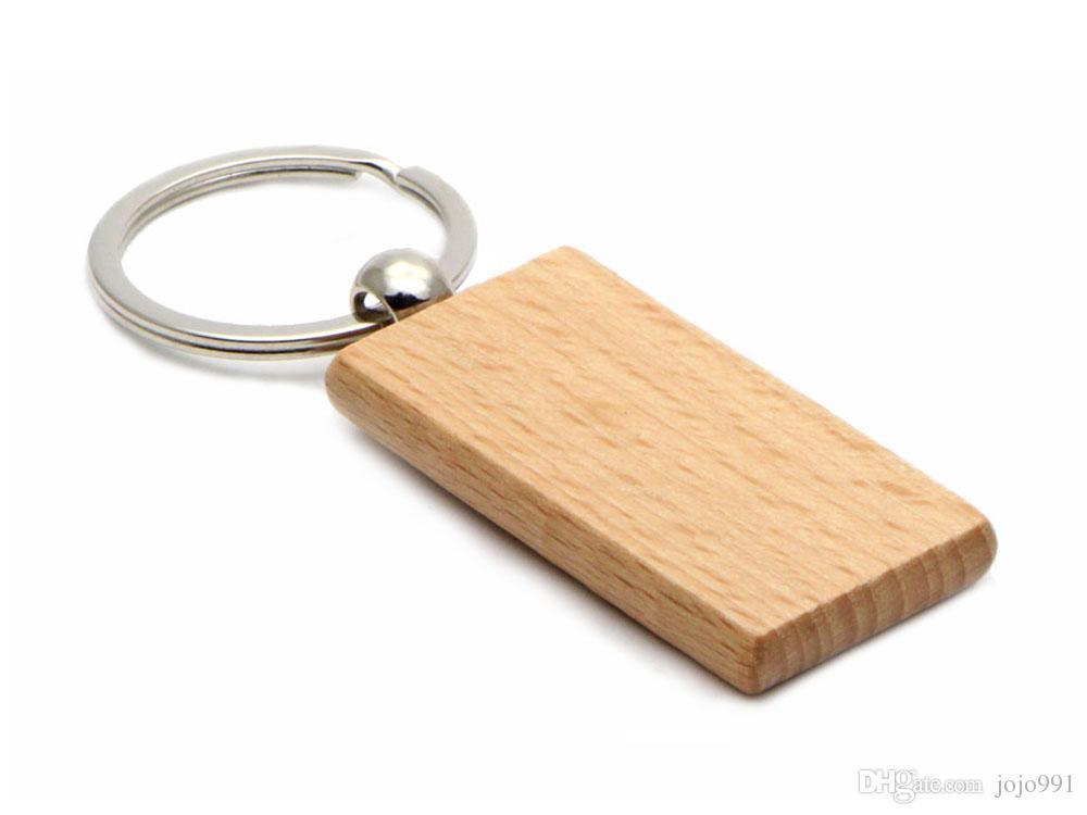 100倍の空白の木製のキーチェーン長方形キーリング2.25 '' * 1.25 ''無料船