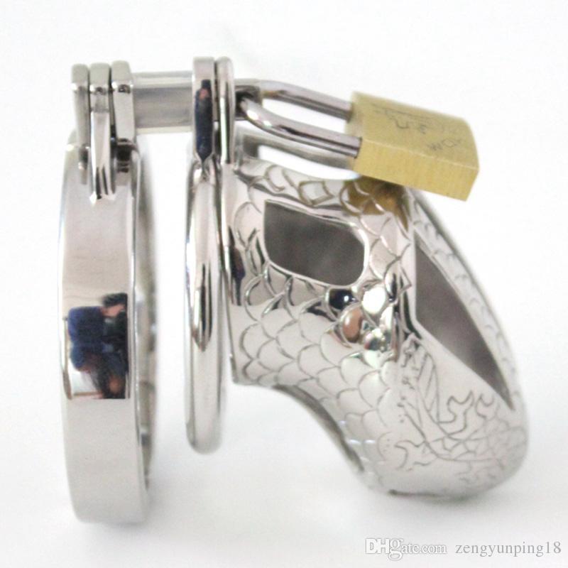2016 Dispositivo de castidad pequeño Jaula de castidad de metal Jaula de martillo de acero inoxidable Cinturón de castidad masculina Anillos de gallo Juguetes Bondage Productos del sexo