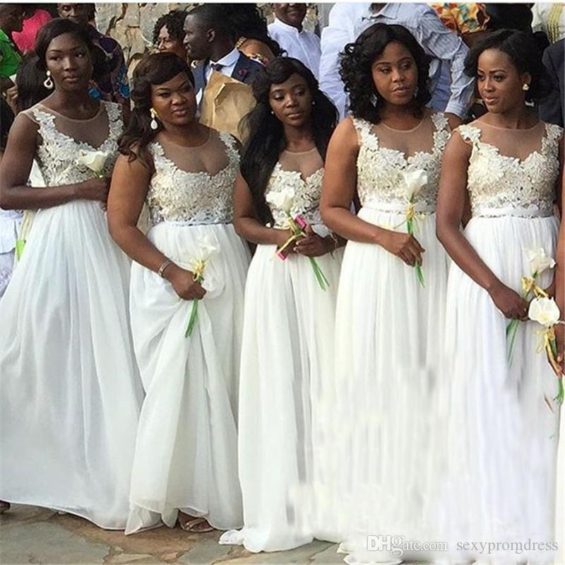 Südafrikanische Brautjungfernkleider 2018 Spitzenapplikationen Chiffon High Split Günstige Brautjungfernkleider Sheer Neck Formale Party Kleid Maßgeschneidert