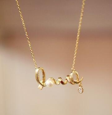 Wholesale Love Pearl Necklace Love Word Charming Gold ...
